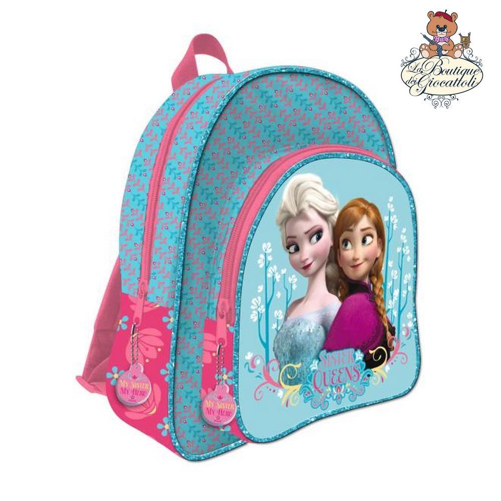 7a74fc02c8 Zaino scuola tempo libero Disney Frozen Anna e Elsa 2 cerniere azzurro